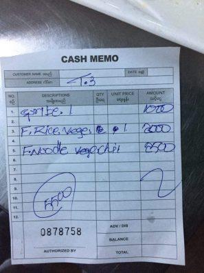 Cả bữa tối hết 5,500 kyat (dưới 100k)